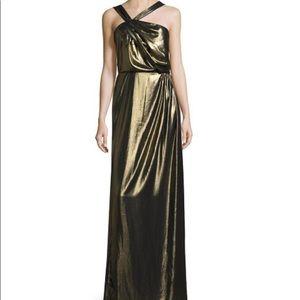"Parker ""Selena"" Asymmetrical Neck, Metallic Dress"